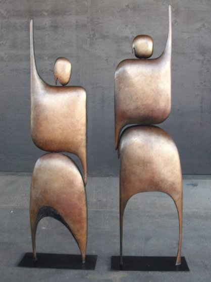 I Am Standing Arms Raised Bronze Sculpture 1992 80x40 in
