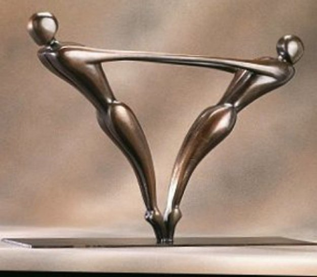 Duo  Bronze Sculpture 1999 22 in