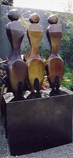 Three Women Two Fish Bronze Sculpture 74 in High (Life Size) Sculpture - Robert Holmes