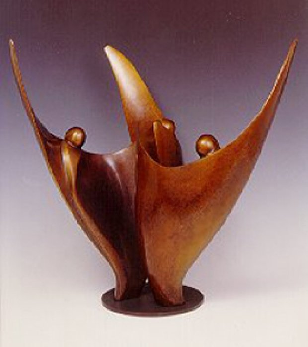 Flower Dancers (Three Figures) Bronze Sculpture 2009 17 in