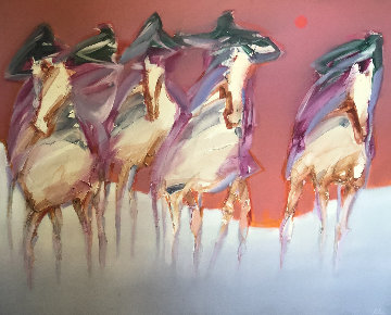 Ghost Mustangs 50x60 Original Painting - Jean Richardson