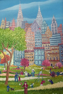 Picnic in the Park 2010 17x24 Original Painting - Rino Li Causi