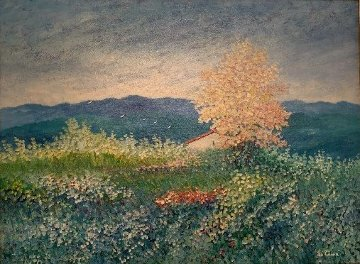 Untitled Landscape 1993 35x45 Original Painting - Rino Li Causi