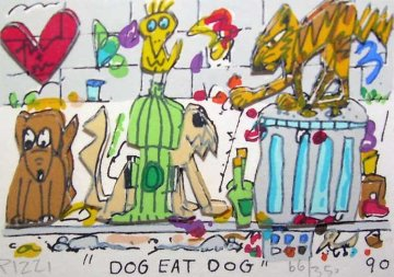 Dog Eat Dog 3-D 1990 Limited Edition Print - James Rizzi