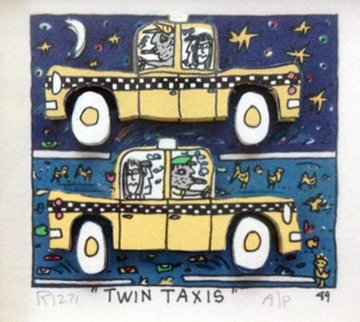 Twin Taxi AP 1989 Limited Edition Print - James Rizzi
