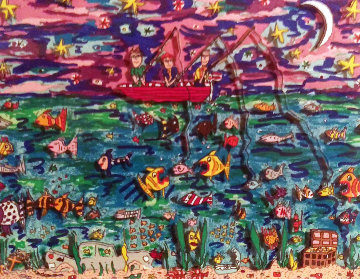 Night Fishing 3-D 1987 Limited Edition Print - James Rizzi