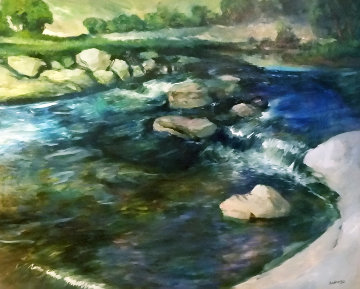 Over the Falls 1996 48x60 Original Painting - Robin John Anderson