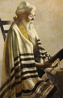 Rabbi Reading 35x23 Original Painting - Roberto Lupetti
