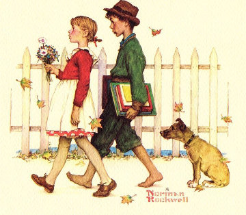 School Walk  AP 1976 Limited Edition Print - Norman Rockwell