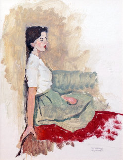 Portrait of a Girl Seated (Faraway Thoughts) 1960 42x37 Original Painting - Norman Rockwell