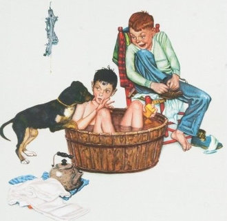 Lickin' Good Bath - Encore Edition Limited Edition Print by Norman Rockwell