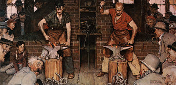 Horseshoe Forging Contest AP 1985 Limited Edition Print - Norman Rockwell