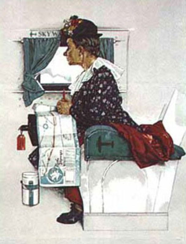 First Airplane Ride By Norman Rockwell
