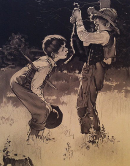 Tom Sawyer Suite of 8 Sepia Lithographs