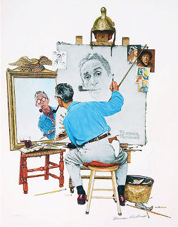 Triple Self-Portrait Limited Edition Print - Norman Rockwell