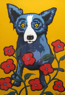 A Garden Party 1998 Limited Edition Print - Blue Dog George Rodrigue
