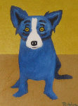 Just Waiting For You - Blue Dog 1997 25x22 Original Painting - Blue Dog George Rodrigue