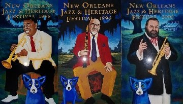 New Orleans Jazz and Heritage Festival  Suite of 3 2000 Limited Edition Print - Blue Dog George Rodrigue