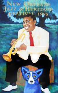 New Orleans Jazz Fest 1995  Limited Edition Print - Blue Dog George Rodrigue