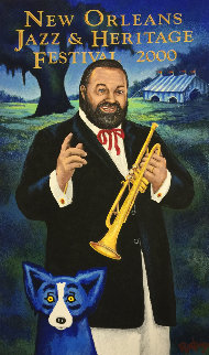 New Orleans. Jazz Fest Poster Signed 2000 HS Limited Edition Print - Blue Dog George Rodrigue