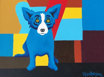 I'm Just Sitting in the Background 2000 23x27 Original Painting - Blue Dog George Rodrigue
