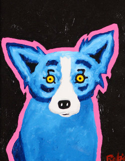 I'm in the Pink Over You  25x22 Original Painting - Blue Dog George Rodrigue
