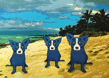 Paradise Island 2013 Limited Edition Print - Blue Dog George Rodrigue