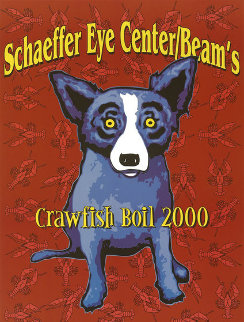 Blue Dog Poster Schaffer Eye Center Beam's Crawfish Boil. Birmingham, AL 2000 Other - Blue Dog George Rodrigue