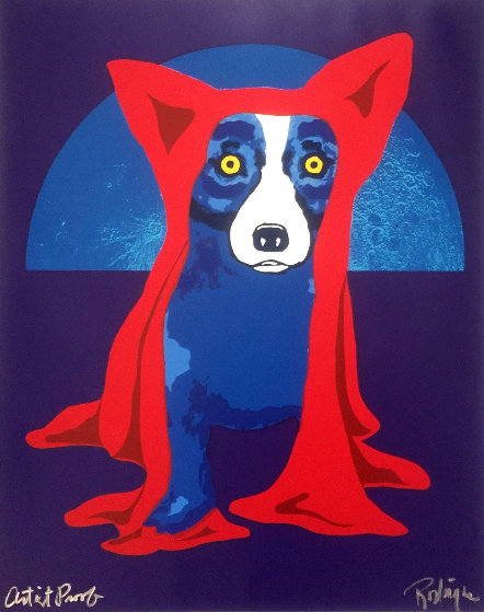 Hiding From the Moon AP 1995 by Blue Dog George Rodrigue
