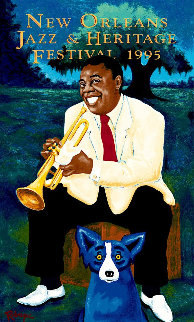 New Orleans Jazz And Heritage Festival Poster - Louis Armstrong 1995 HS Limited Edition Print - Blue Dog George Rodrigue