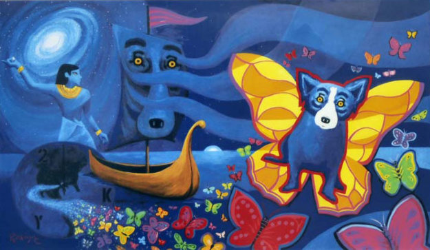 Millennium 2000 With Remarque By Blue Dog George Rodrigue