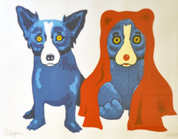 Bear with Me AP 1995 Limited Edition Print - Blue Dog George Rodrigue