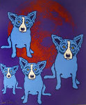 Red Moon 1991 Limited Edition Print - Blue Dog George Rodrigue