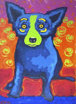 Untitled Blue Dog Green Face 2004 Works on Paper (not prints) - Blue Dog George Rodrigue