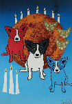 By the Light of the Moon - Split Front 1992 Limited Edition Print - Blue Dog George Rodrigue