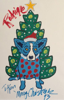 Rodrigue Merry Christmas Embellished 1993 32x40 Limited Edition Print - Blue Dog George Rodrigue