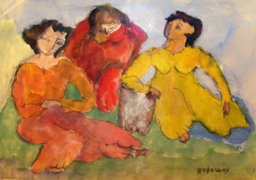 Three Female Figures 1971 20x28 Watercolor - Alfred Rogoway