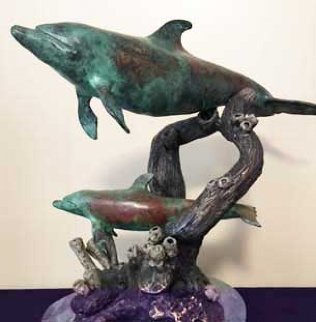 Dolphins At Play Bronze Sculpture 1990 17 in Sculpture - Elmar Rene Rojas