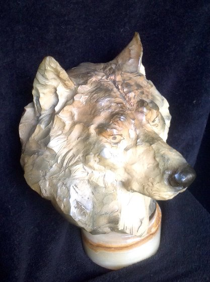 Ghost Wolf's Head Bust Bronze Sculpture 1992 16 in