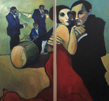 Ragtime Rosie and Roy 2004 72x75 Original Painting - Sarena Rosenfeld