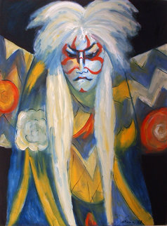 Kabuki in Two Line Paint 1988 Original Painting - Sarena Rosenfeld