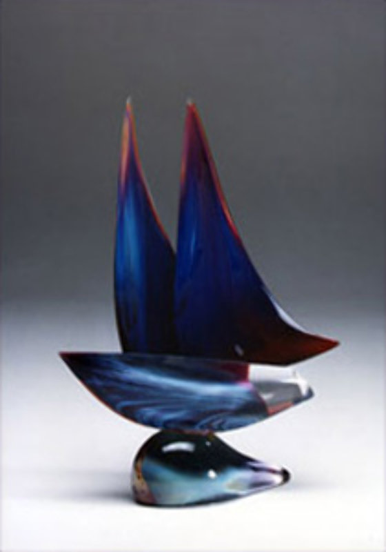 Sailboat Blue Unique Glass Sculpture 20 in