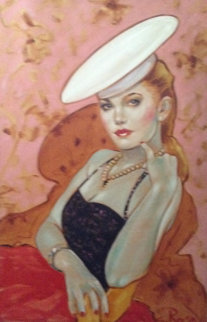 Untitled (Woman With Hat) 37x25 Original Painting - Colleen Ross
