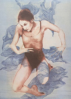 Dancer, Blue Shawl 1973 Limited Edition Print - G.H Rothe