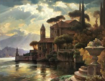 Lake Como 43x57 Original Painting - Leon Roulette