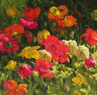 Iceland Poppies 2010 Embellished Limited Edition Print - Leon Roulette