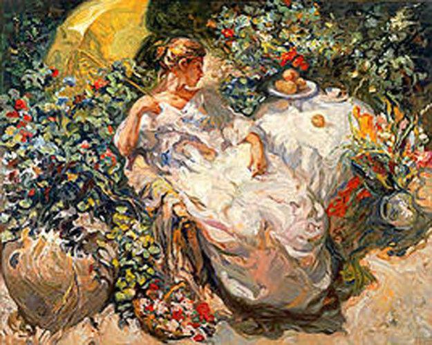 Sentada en el jardin 1996 by royo for Best way to sell your art online