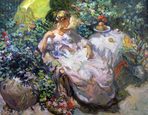 Sentada en el jardin 1996 by royo for Art jardin neufchateau