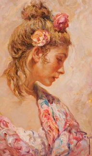 Shawl Suite of 2 Paintings: Claveles 2 And El Manton 1990 28x22 Original Painting -  Royo