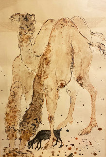 Untitled (Camels) 33x24 Original Painting - Reuven Rubin